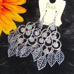 Long Boho Earrings Dressy Leaf Coin Drop Dangles